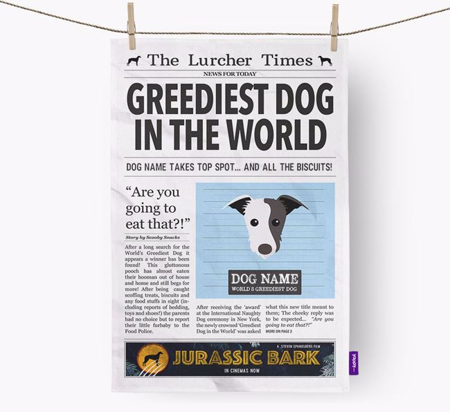 The Lurcher Times 'Greediest Dog In The World' Personalised Dish Towel