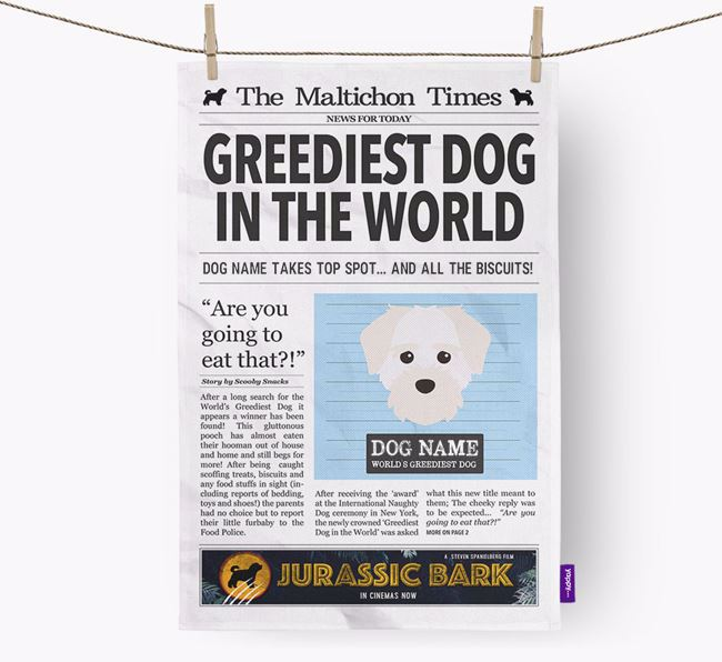 The Maltichon Times 'Greediest Dog In The World' Personalised Dish Towel
