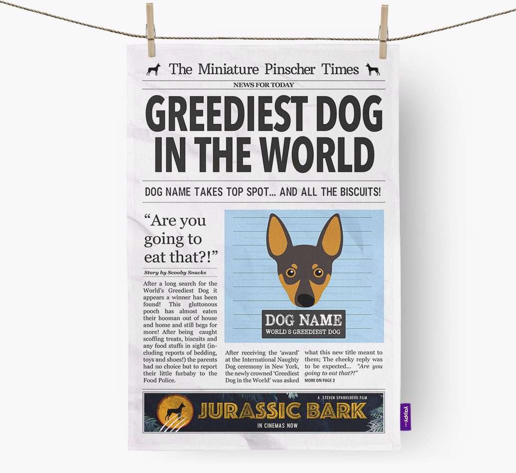 Personalised The Miniature Pinscher Times 'Greediest Dog In The World' Newspaper Tea Towel