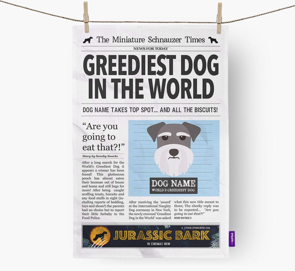 Personalised The Miniature Schnauzer Times 'Greediest Dog In The World' Newspaper Tea Towel