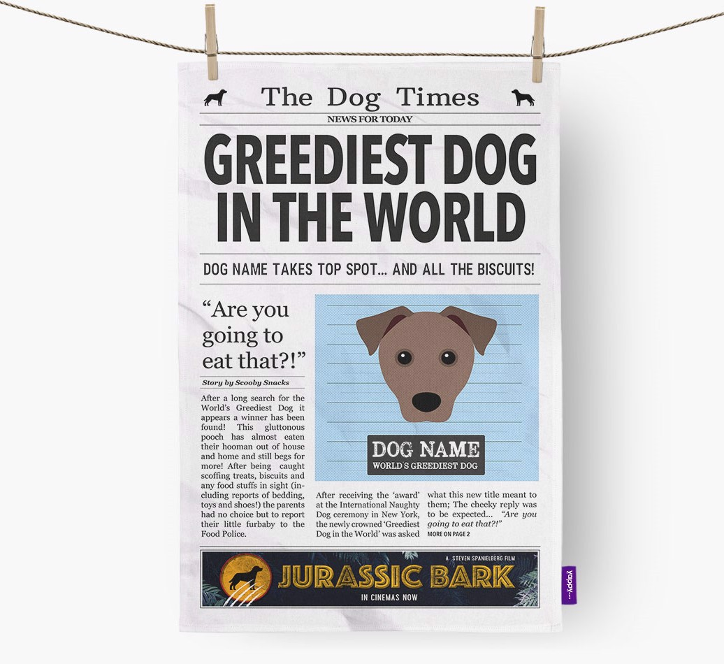 Personalised The Mixed Breed Times 'Greediest Dog In The World' Newspaper Tea Towel
