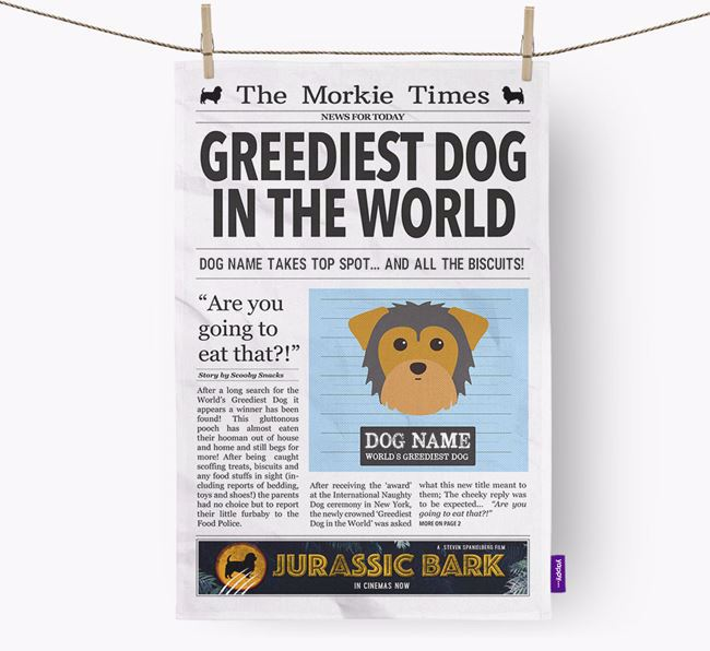 The Morkie Times 'Greediest Dog In The World' Personalised Dish Towel