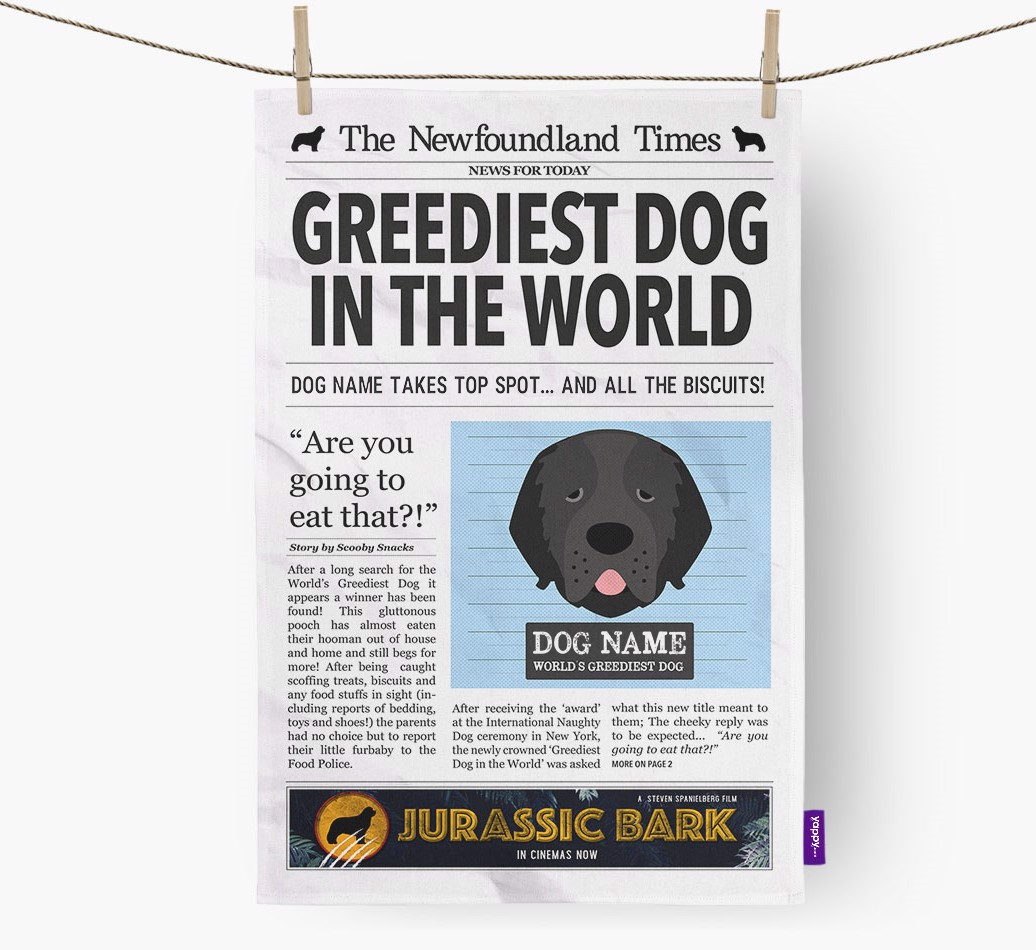 Personalised The Newfoundland Times 'Greediest Dog In The World' Newspaper Tea Towel
