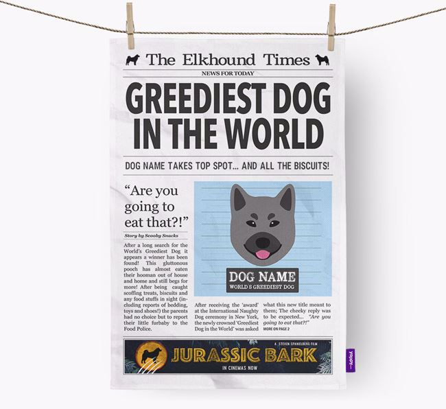 The Elkhound Times 'Greediest Dog In The World' Personalised Dish Towel
