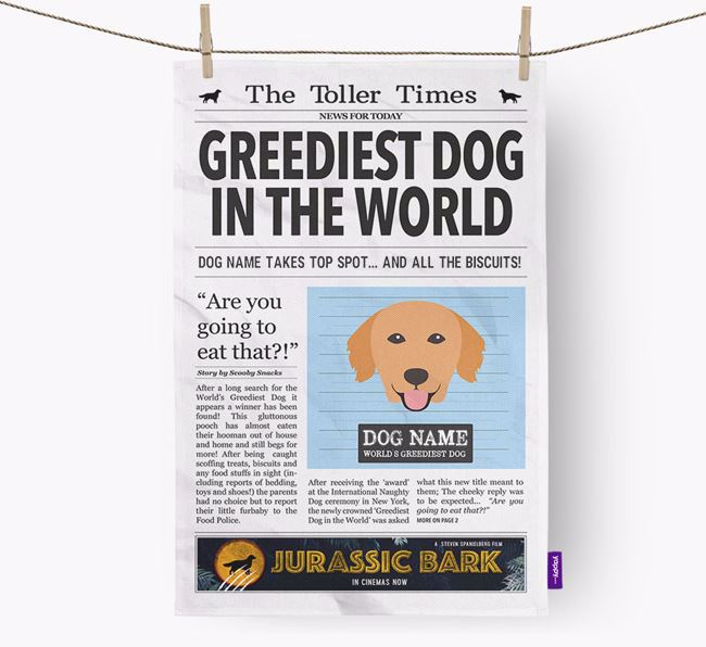 The Toller Times 'Greediest Dog In The World' Personalised Dish Towel