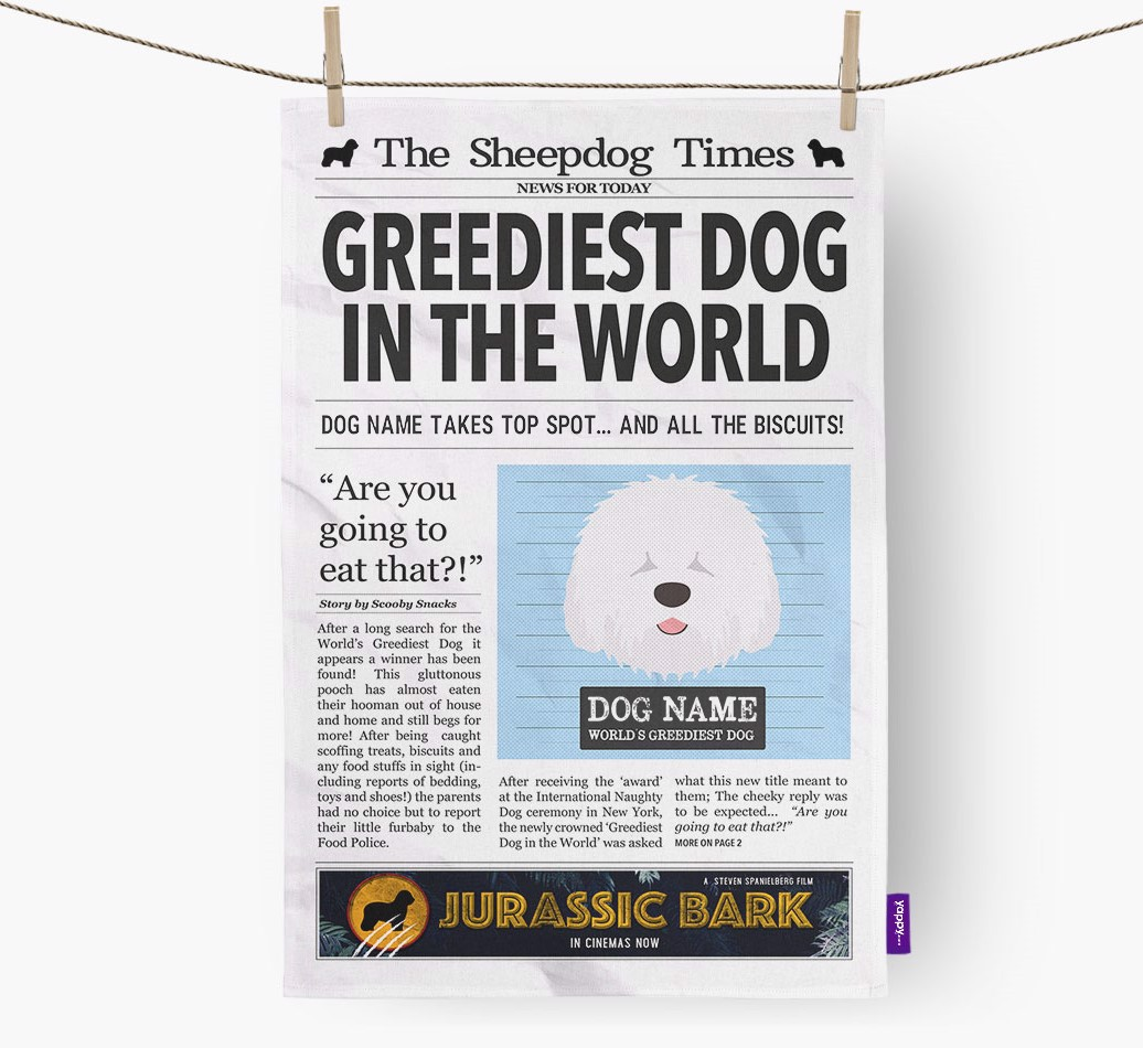Personalised The Old English Sheepdog Times 'Greediest Dog In The World' Newspaper Tea Towel