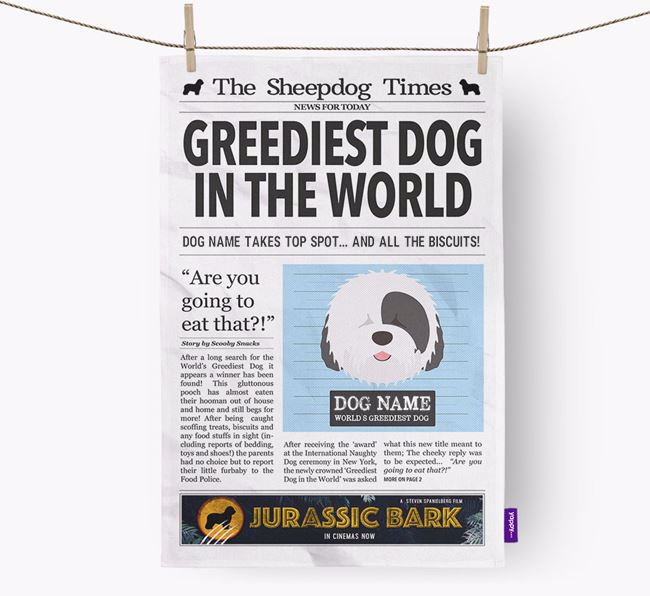 The Sheepdog Times 'Greediest Dog In The World' Personalised Dish Towel