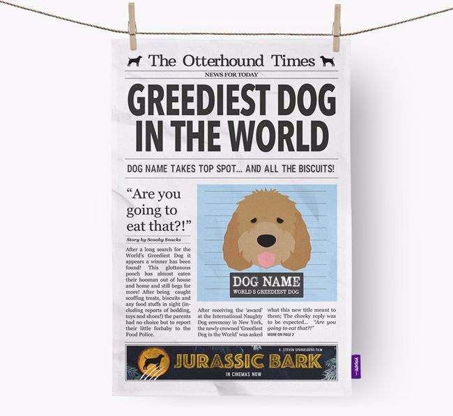 The Otterhound Times 'Greediest Dog In The World' Personalised Dish Towel