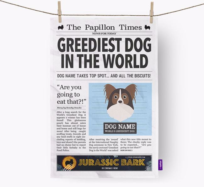 The Papillon Times 'Greediest Dog In The World' Personalised Dish Towel
