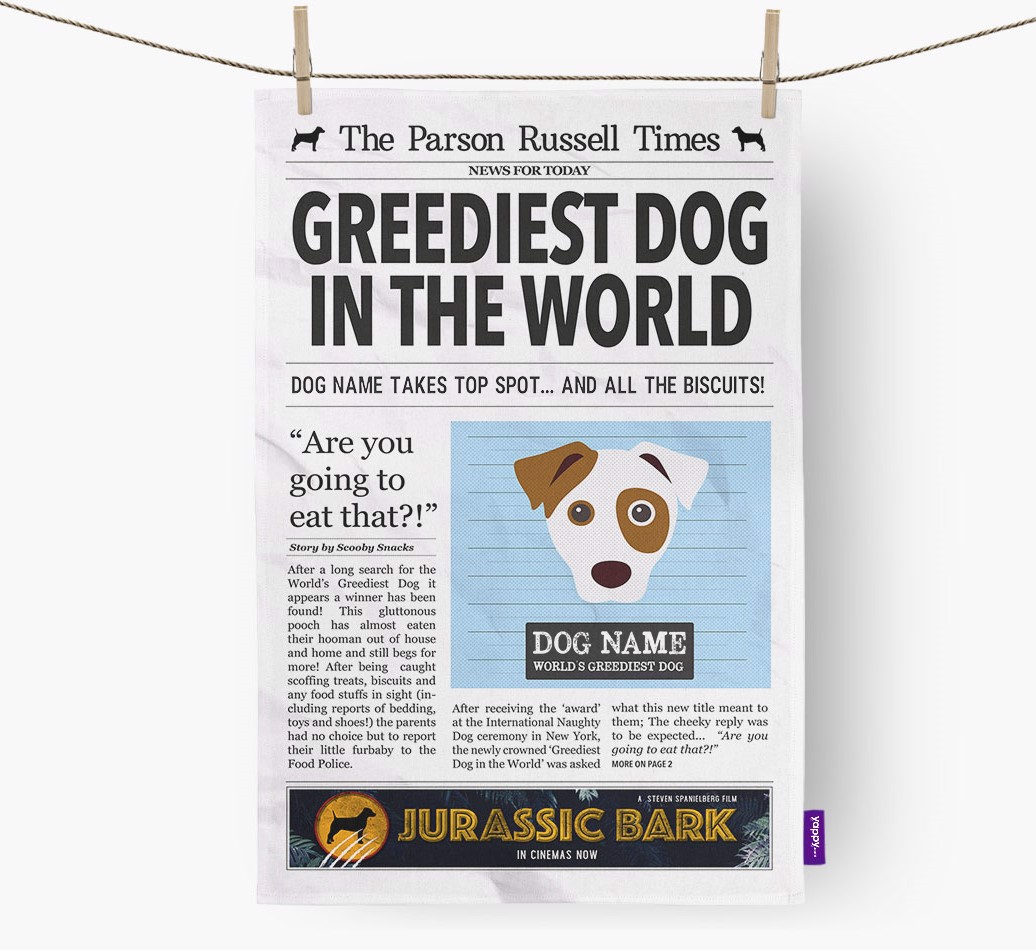 Personalised The Parson Russell Terrier Times 'Greediest Dog In The World' Newspaper Tea Towel