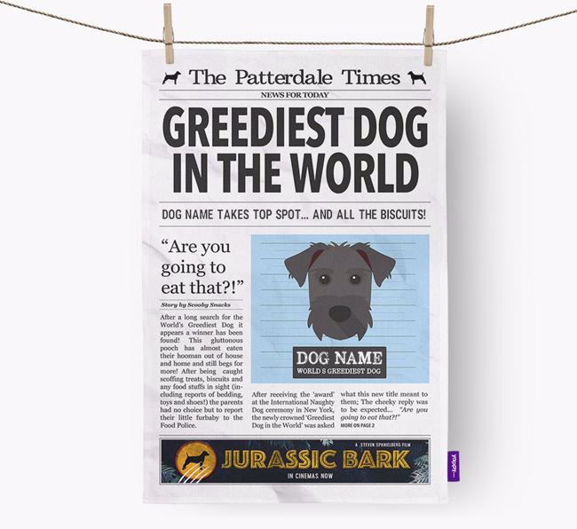 The Patterdale Times 'Greediest Dog In The World' Personalised Dish Towel