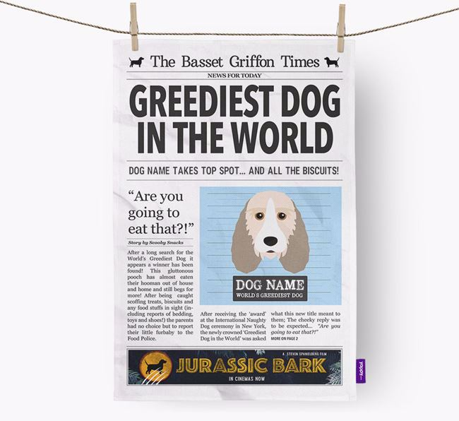 The Basset Griffon Times 'Greediest Dog In The World' Personalised Dish Towel