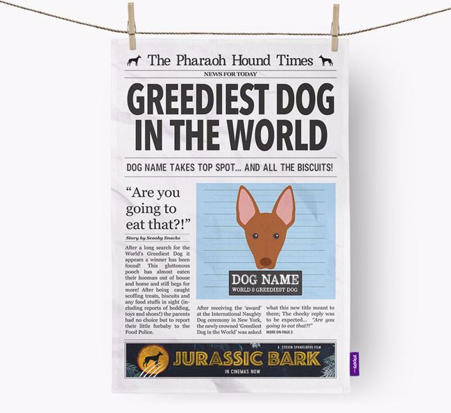 The Pharaoh Times 'Greediest Dog In The World' Personalised Dish Towel