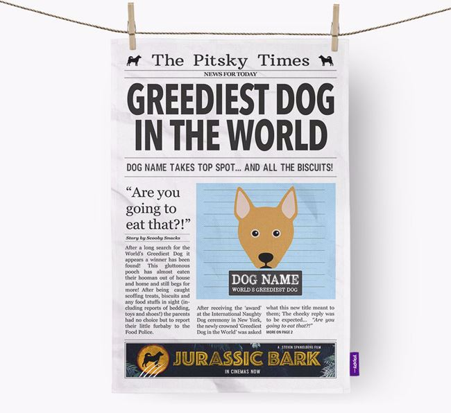 The Pitsky Times 'Greediest Dog In The World' Personalised Dish Towel