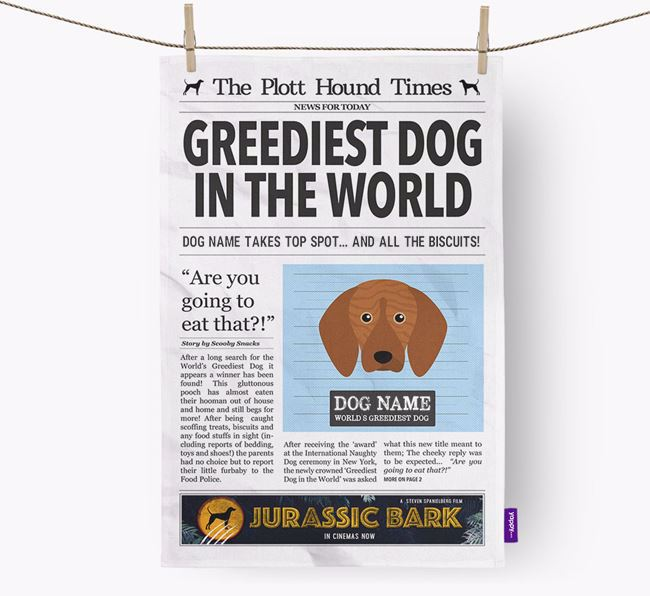 The Plott Times 'Greediest Dog In The World' Personalised Dish Towel