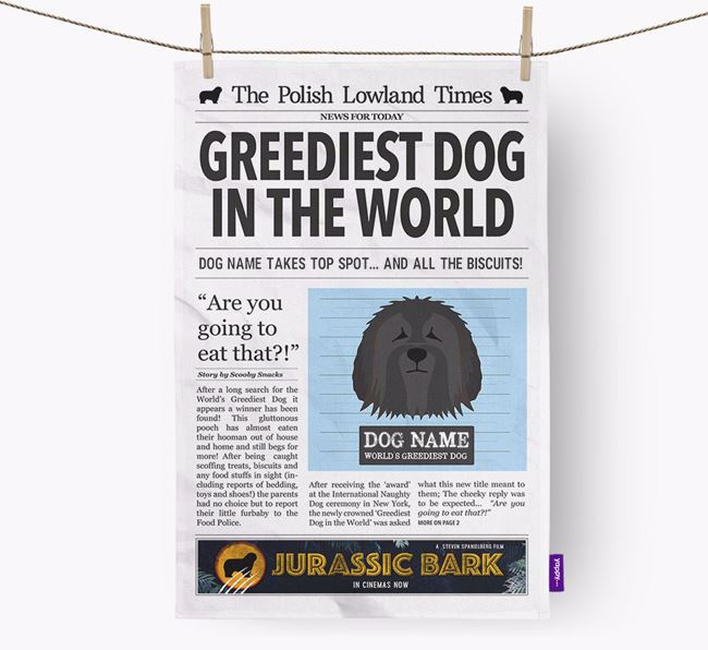 The Nizinny Times 'Greediest Dog In The World' Personalised Dish Towel