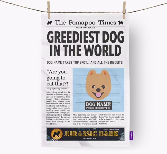 The Pomapoo Times 'Greediest Dog In The World' Personalised Dish Towel
