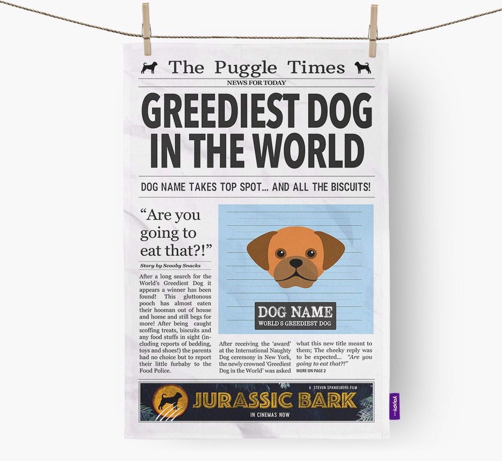 Personalised The Puggle Times 'Greediest Dog In The World' Newspaper Tea Towel