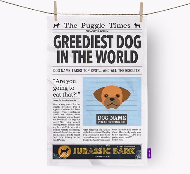 The Puggle Times 'Greediest Dog In The World' Personalised Dish Towel
