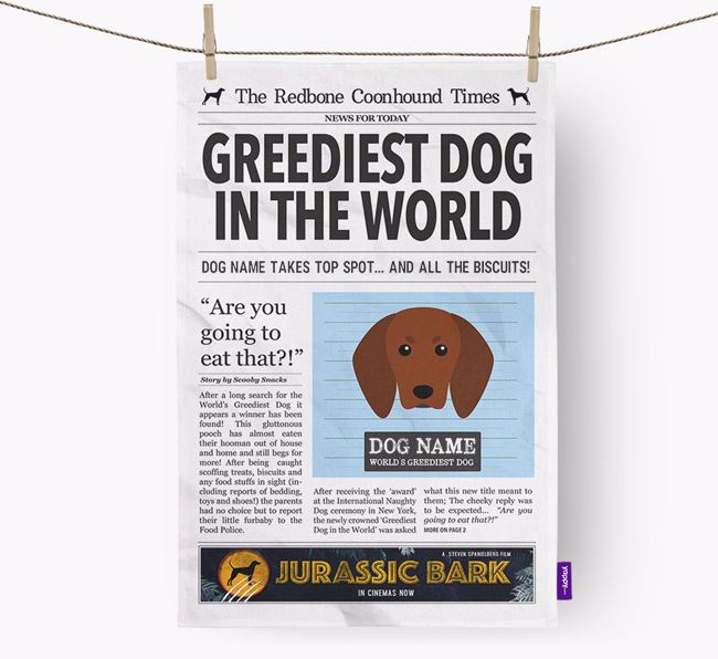 The Coonhound Times 'Greediest Dog In The World' Personalised Dish Towel