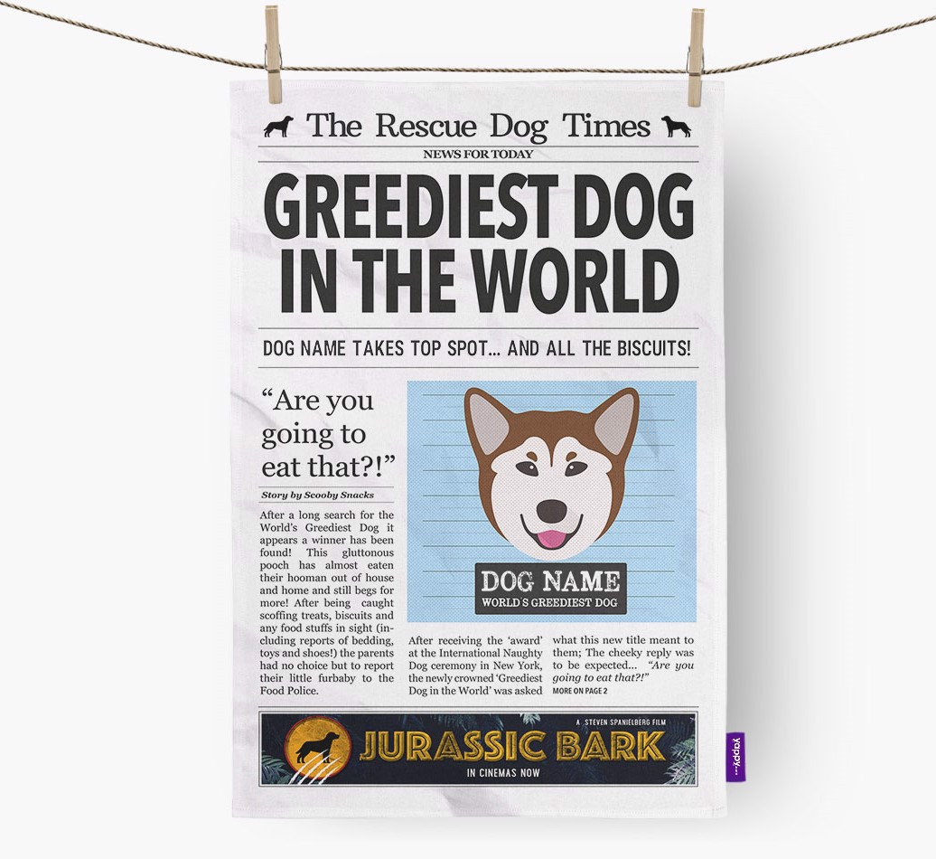 Personalised The Rescue Dog Times 'Greediest Dog In The World' Newspaper Tea Towel