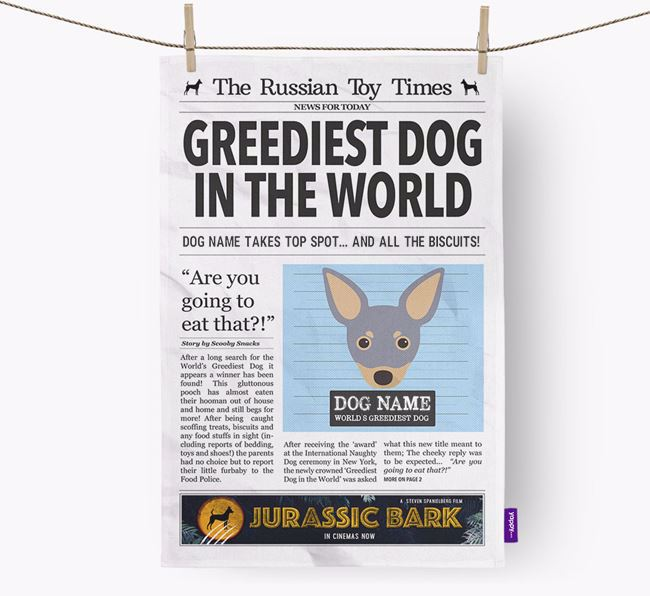 The Russian Toy Times 'Greediest Dog In The World' Personalised Dish Towel