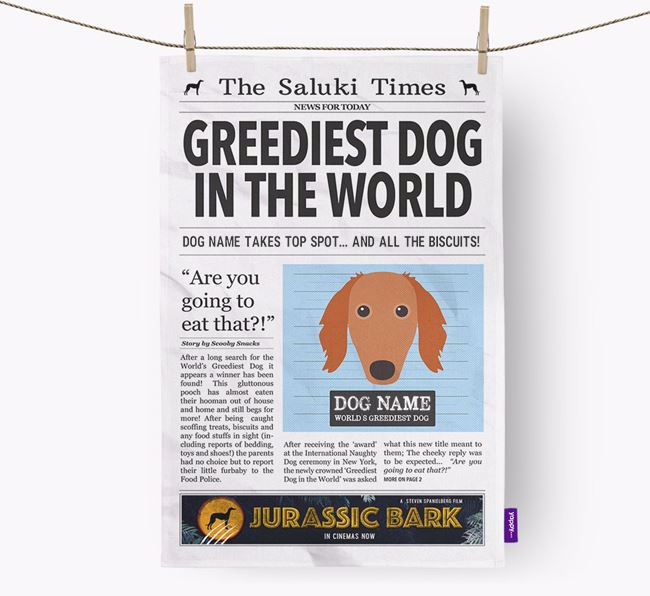 The Saluki Times 'Greediest Dog In The World' Personalised Dish Towel