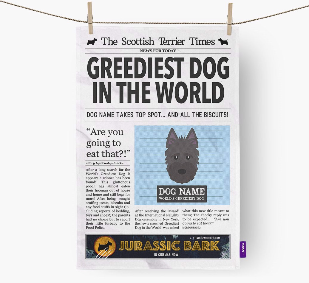 Personalised The Scottish Terrier Times 'Greediest Dog In The World' Newspaper Tea Towel