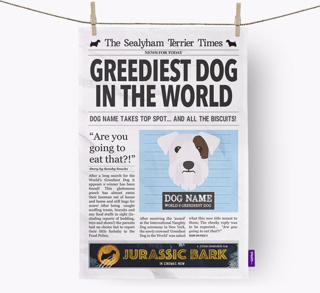 The Sealyham Times 'Greediest Dog In The World' Personalised Dish Towel