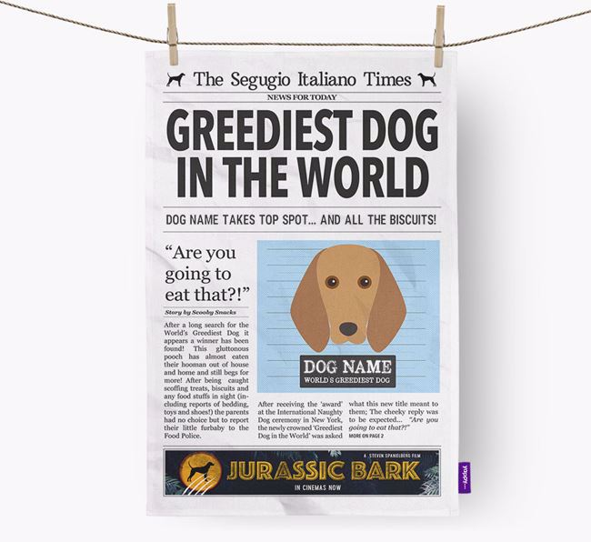 The Segugio Times 'Greediest Dog In The World' Personalised Dish Towel
