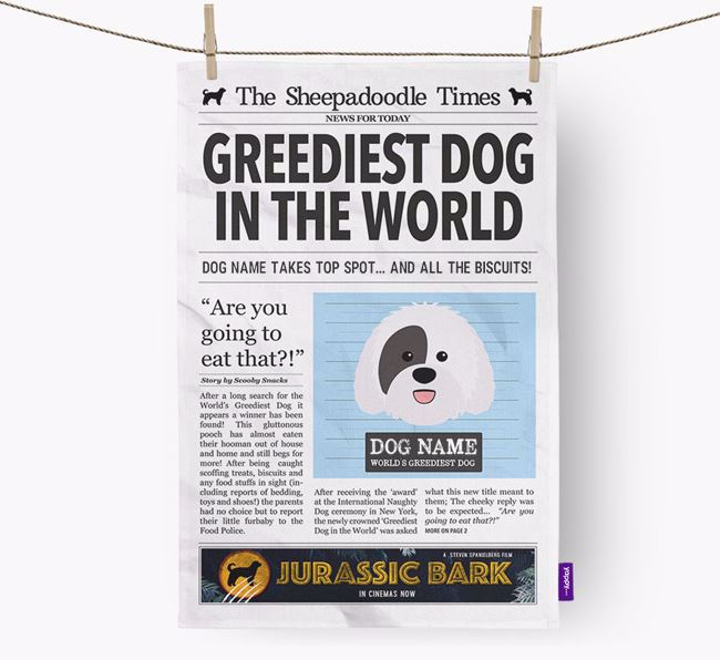 The Sheepadoodle Times 'Greediest Dog In The World' Personalised Dish Towel