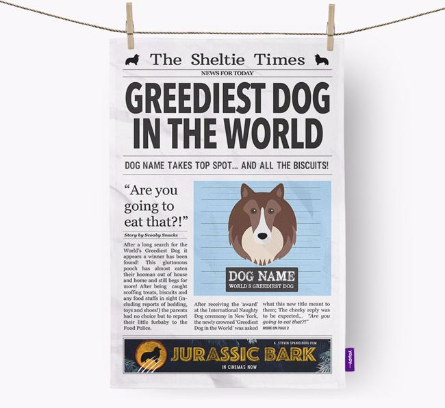 The Sheltie Times 'Greediest Dog In The World' Personalised Dish Towel