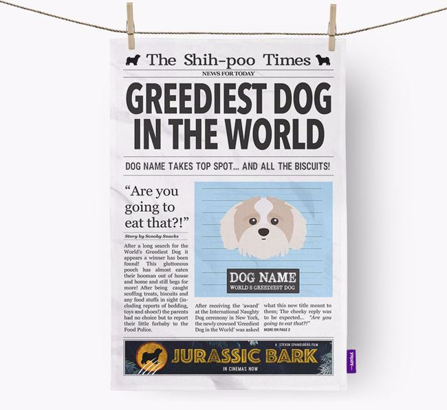 The Shih-poo Times 'Greediest Dog In The World' Personalised Dish Towel