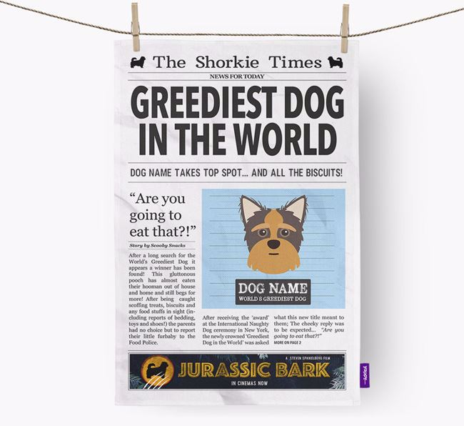 The Shorkie Times 'Greediest Dog In The World' Personalised Dish Towel