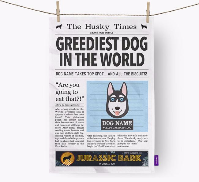 The Husky Times 'Greediest Dog In The World' Personalised Dish Towel