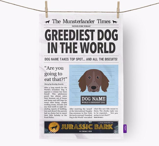 The Munster Times 'Greediest Dog In The World' Personalised Dish Towel