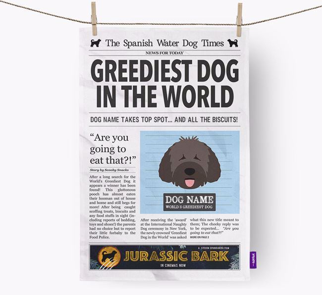 The Water Dog Times 'Greediest Dog In The World' Personalised Dish Towel