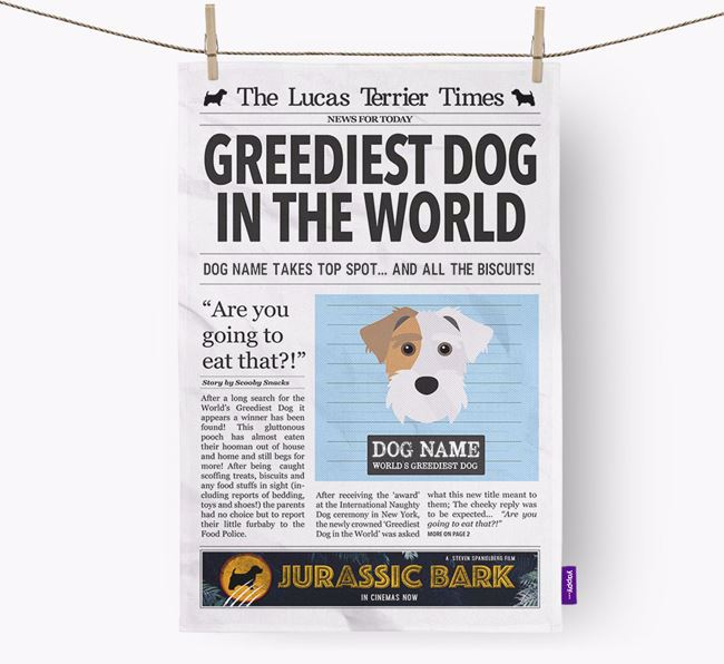 The Lucas Terrier Times 'Greediest Dog In The World' Personalised Dish Towel