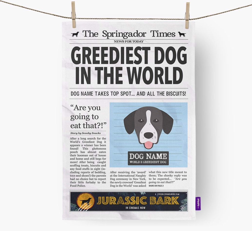Personalised The Springador Times 'Greediest Dog In The World' Newspaper Tea Towel
