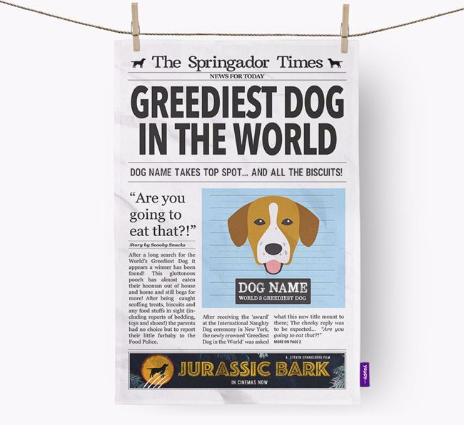 The Springador Times 'Greediest Dog In The World' Personalised Dish Towel