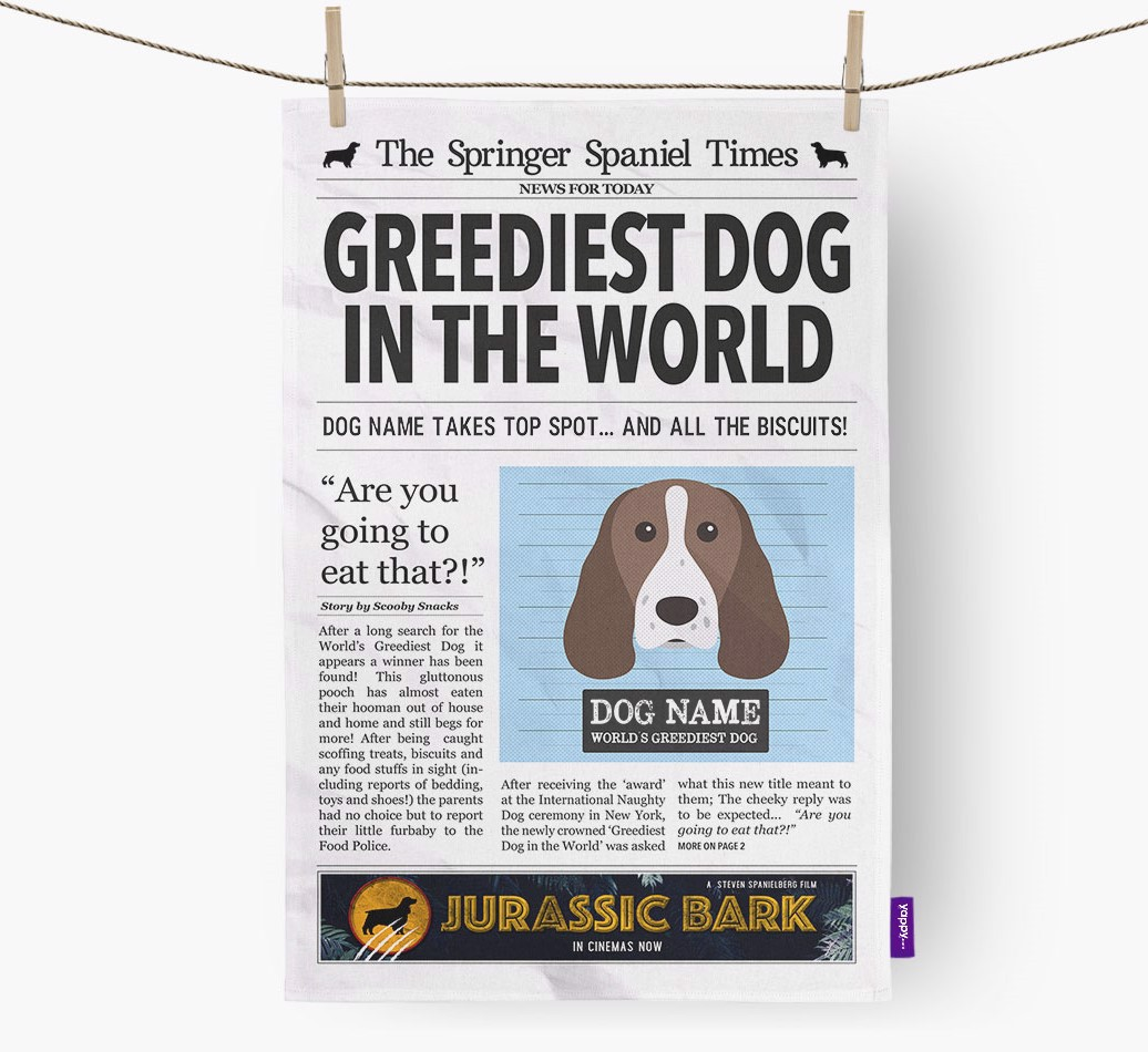 Personalised The Springer Spaniel Times 'Greediest Dog In The World' Newspaper Tea Towel
