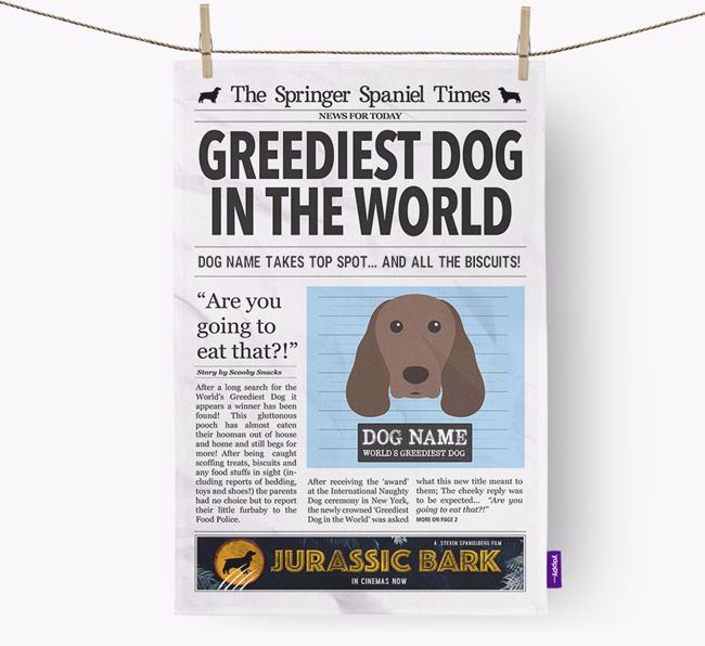 The Springer Times 'Greediest Dog In The World' Personalised Dish Towel