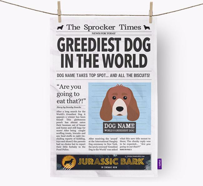 The Sprocker Times 'Greediest Dog In The World' Personalised Dish Towel