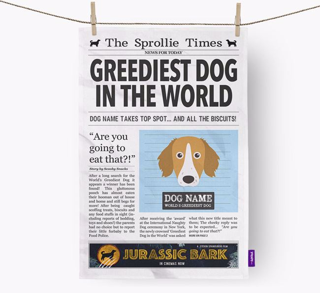 The Sprollie Times 'Greediest Dog In The World' Personalised Dish Towel