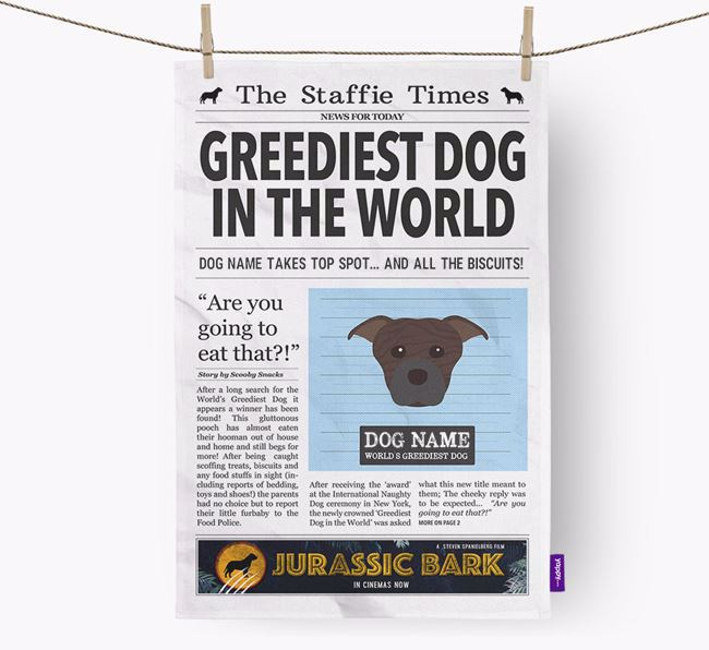 The Staffie Times 'Greediest Dog In The World' Personalised Dish Towel
