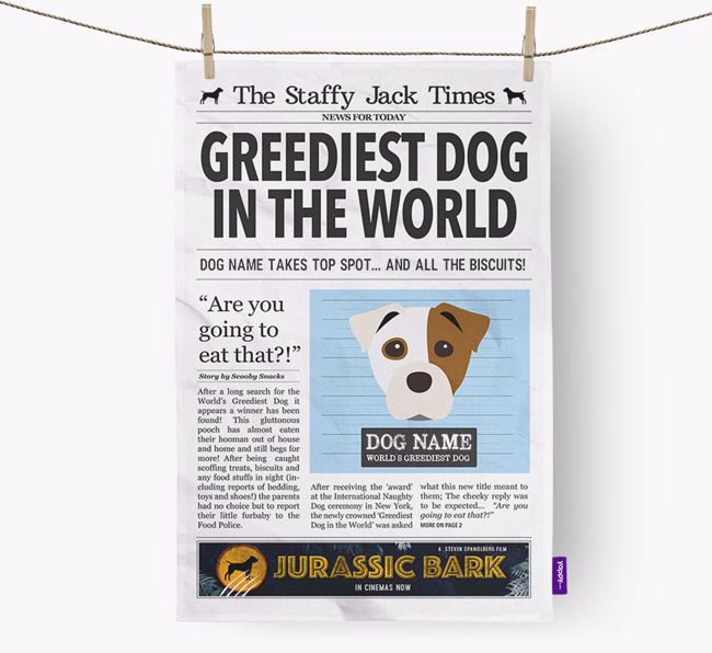 The Staffy Jack Times 'Greediest Dog In The World' Personalised Dish Towel
