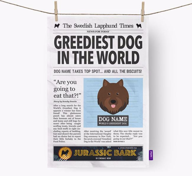 The Lapphund Times 'Greediest Dog In The World' Personalised Dish Towel