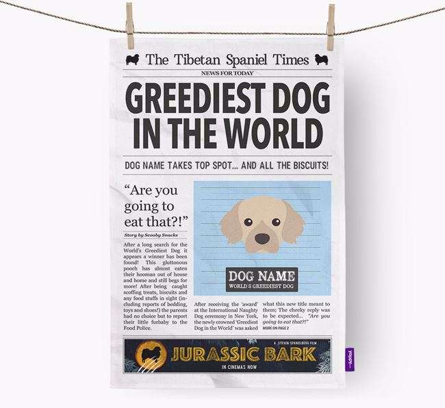 The Tibbie Times 'Greediest Dog In The World' Personalised Dish Towel