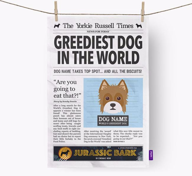 The Jorky Times 'Greediest Dog In The World' Personalised Dish Towel