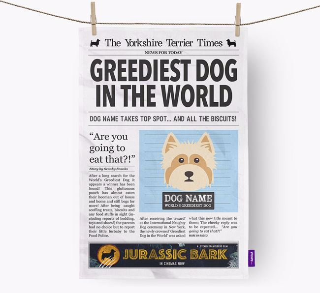 The Yorkie Times 'Greediest Dog In The World' Personalised Dish Towel